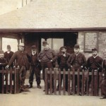 Pilots outside of Watch House (Photograph dated between 1895 and 1905)