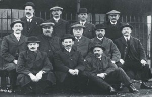 Outside Pilot Watch House. (left to right) Back Row: T.Y. Purvis, Wm. Phillips, James Wright, E.C. Burn. Middle Row Harry Purvis, Robert Ramsey, Harry Young, A.L. Ayre, T.H. Purvis. Front Row: Joe Marshall, W.O. Purvis, John Cree.