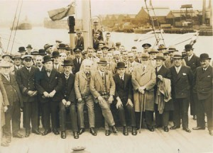 Friday 3 rd July 1931 The Tyne Pilotage Authority and their guests onboard the pilot cutter 'Queen O' the May' during their annual river trip.
