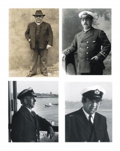 Top Left: James Purvis, who in the 1920's at the age of 73, was the oldest working pilot on the river. He had three sons, George William, James and Thomas, all pilots. Top Right: George William Purvis, son of James (top left) Below Left: George William Purvis, son of George (top right) and grandson of James,was piloting on the river from 1947 until his retirement at the age of 70 in 1980. Below Right: George William Purvis, son of George William (below left) grandson of George William and great grandson of James, was piloting from 1966 until 1998.