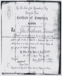 Certificate of Competency: John Hutchinson