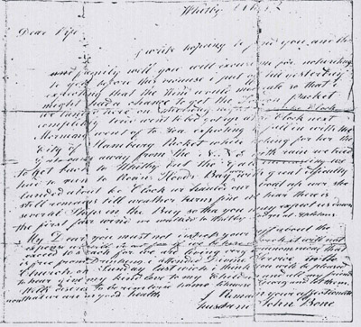 Letter from John Bone to his Wife